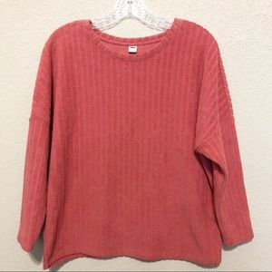 OLD NAVY Cotton Coral Ribbed Terry Sweater